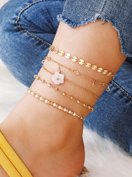 Fashionable Alloy With Rhinestone/Flower Anklets(5 Pieces)