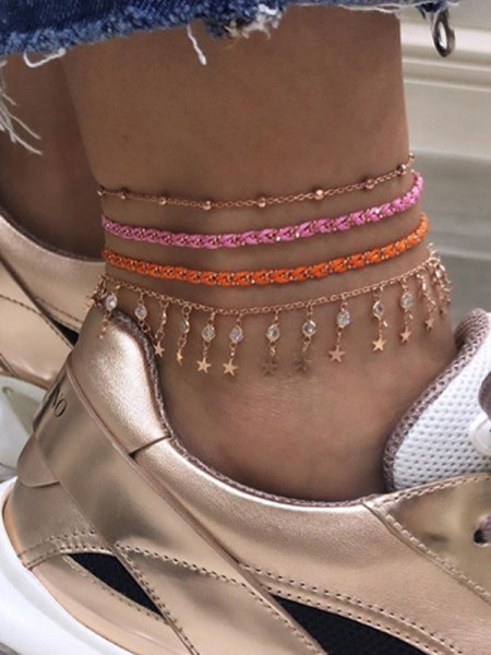 Beautiful Star Alloy Anklets(4 Pieces)