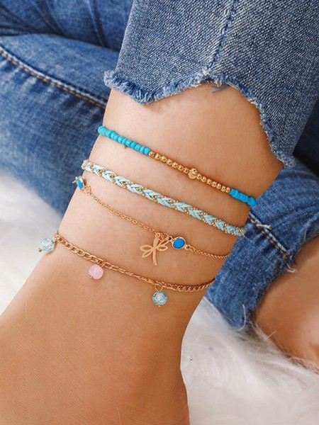 Pretty Alloy With Beads Anklets(4 Pieces)