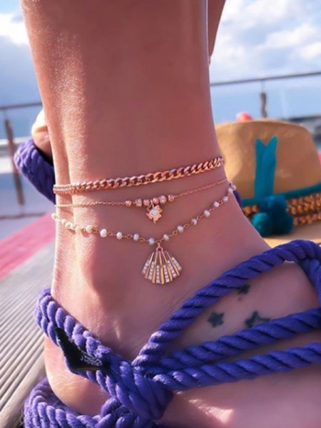 Delicate Pearl Alloy Anklets(3 Pieces)