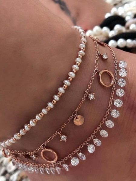 Hot Sale Rhinestone Alloy Anklets(3 Pieces)