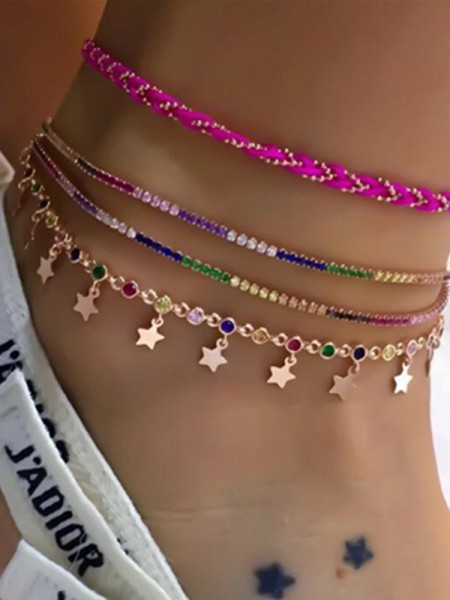 Fashion Star Alloy Anklets(4 Pieces)