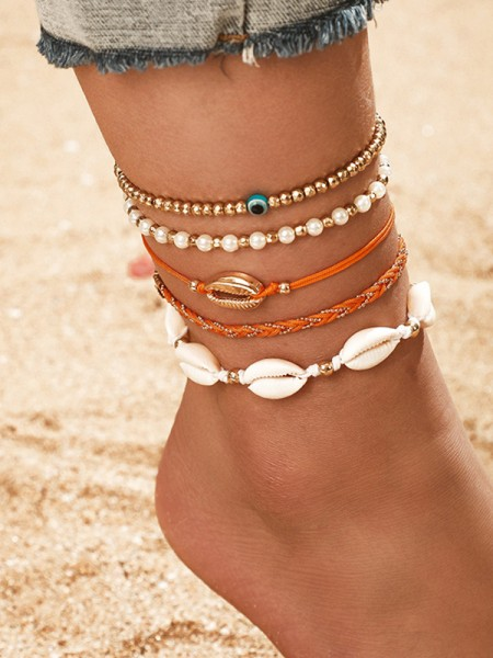 Exquisite Alloy With Shell Anklets(5 Pieces)