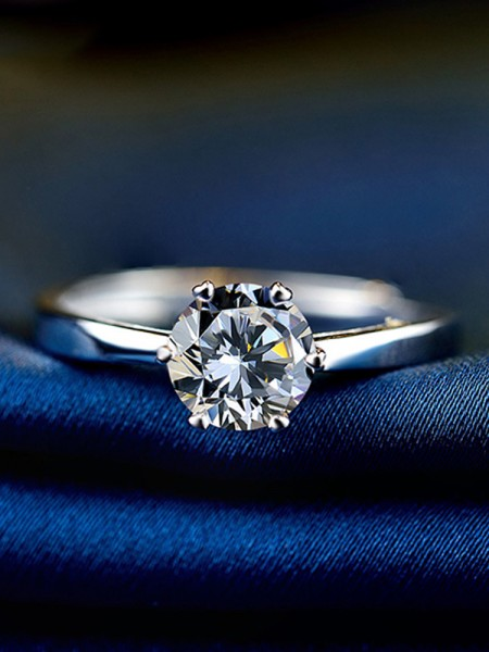 Attractive S925 Silver With Zircon Adjustable Wedding Rings