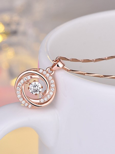 Fancy Copper With Zircon Necklaces For Ladies