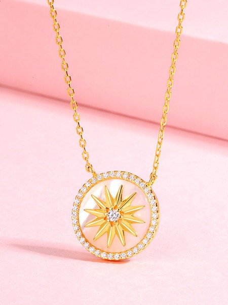 Fashion 925 Sterling Silver With Rhinestone Necklaces For Ladies