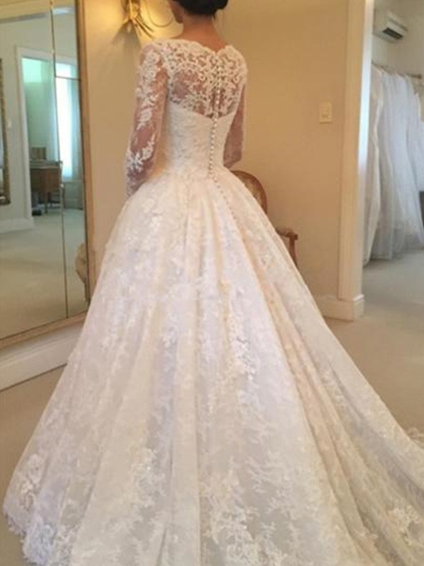 Ball Gown Long Sleeves Scoop Cathedral Train Ruffles Lace Wedding Dress Dylanqueen